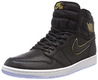 79c1fd2834fe Jordan Retro 1 High Basketball Men's Shoes Size 14 Black/Metallic Gold