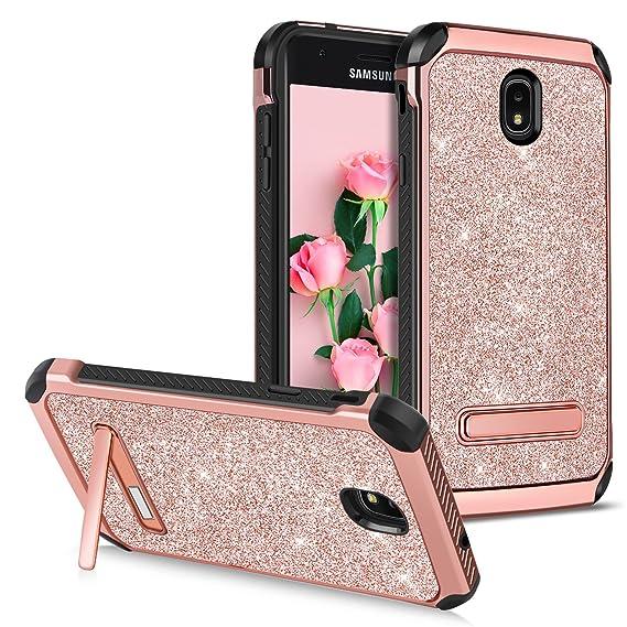 GUAGUA Galaxy J3 Case 2018 Galaxy J3 Achieve/J3 Star/J3 V 3rd Gen/Express  Prime 3/Amp Prime 3/J3 Eclipse 2 Case Kickstand Bling Slim Cover Protective