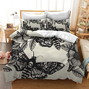Skull Comforter Cover Set Twin Size Moth Printed Gothic Style Duvet Cover For Teen Boys Kids Sugar Skull Pattern Botanical Floral Decor Gray White Black Soft Microfiber Bedding Set With Zipper Ties