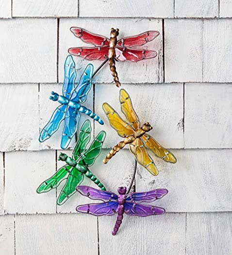 Plow Hearth Watercolor Multi Dragonfly Glass Wall Art
