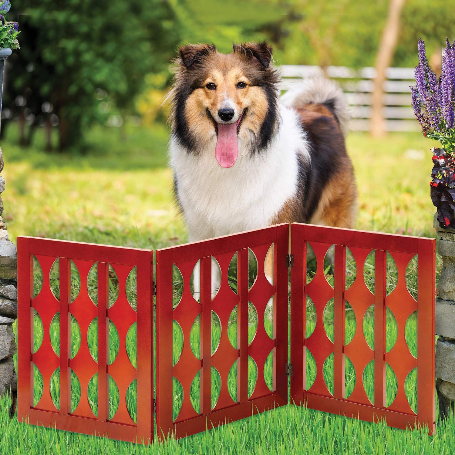 Safety Pet Gate for Dogs - Free-Standing & Foldable - Decorative Classic Wooden Fence Barrier - Stairs & Doorways by Etna Products