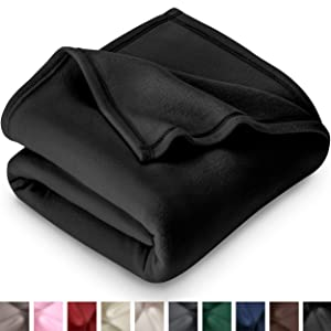 Bare Home Polar Fleece Blanket - Twin/Twin Extra Long - Warm Cozy - Hypoallergenic Premium Poly-Fiber Yarns - Thermal - Lightweight Bed Blanket (Twin/Twin XL, Black)