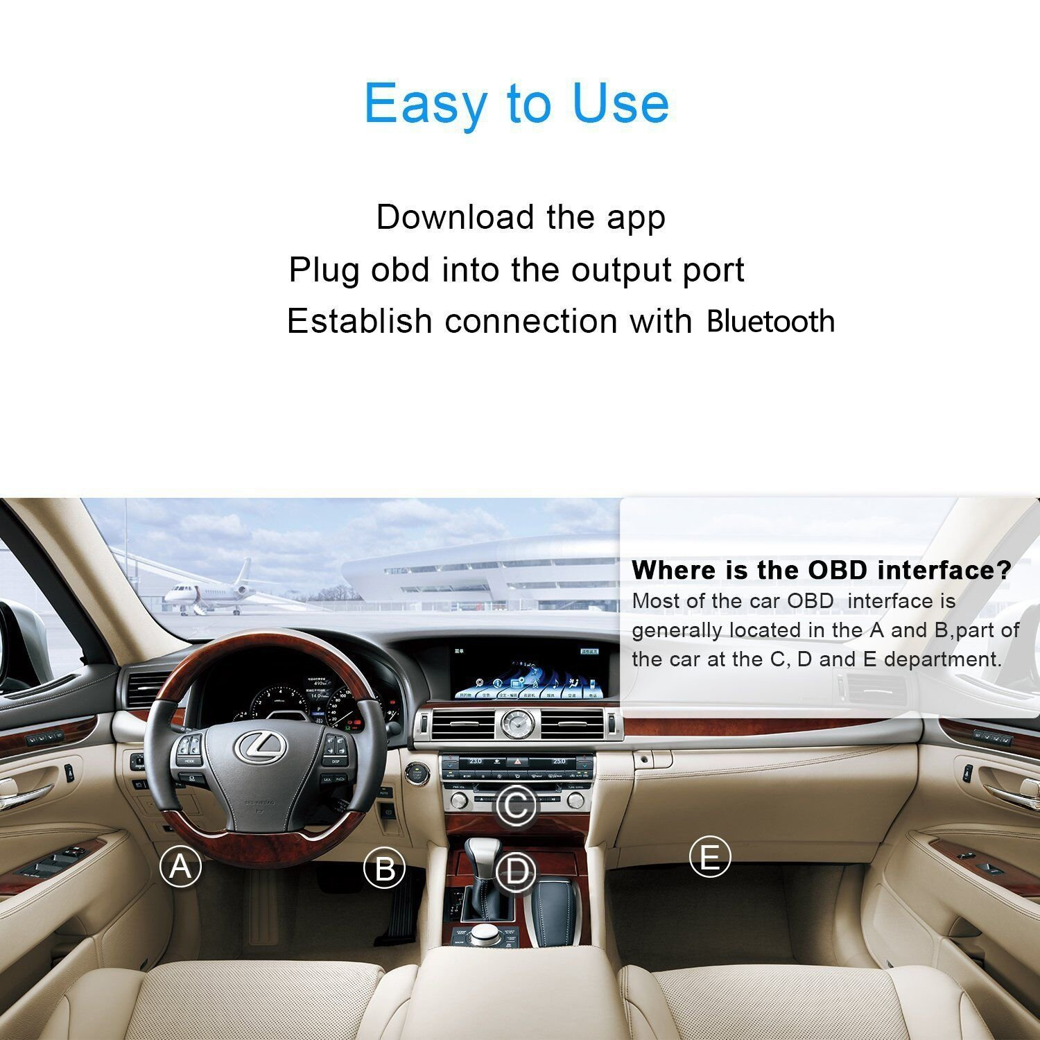 Car Bluetooth OBDII Scan Tool ELM327 Bluetooth Foseal Scanner Adapter Check Engine Diagnostic Tool for Android ( 24K80 Chin) with a Mobile Phone Stand (Bluetooth Scan Tool)