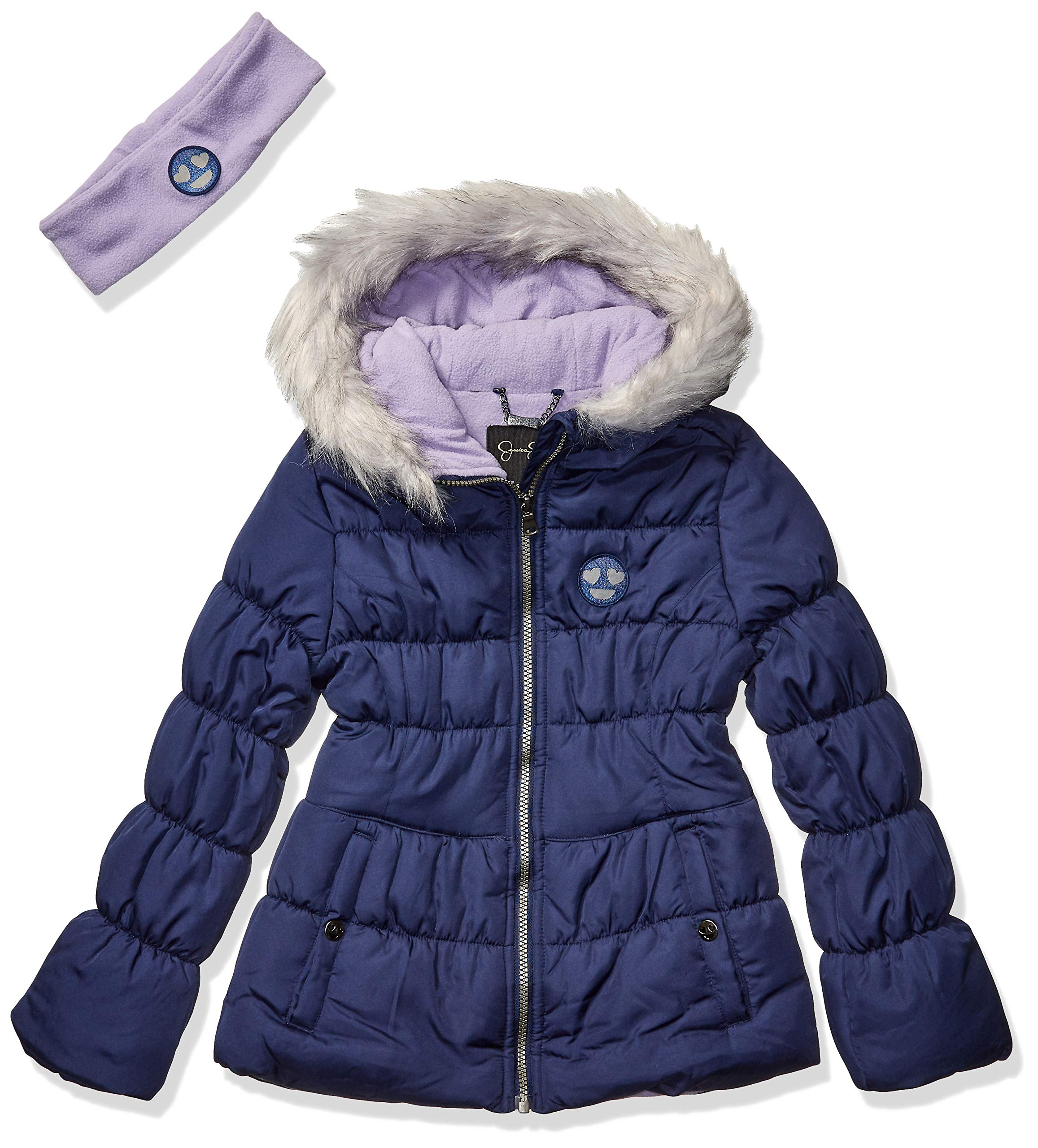 Jessica Simpson Girls' Big Expedition Parka, Navy, 10/12 by Jessica Simpson