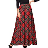Womens Ladies 2019 Fashion Checked Falbala High Waist A-Line Flared Skirt 4780