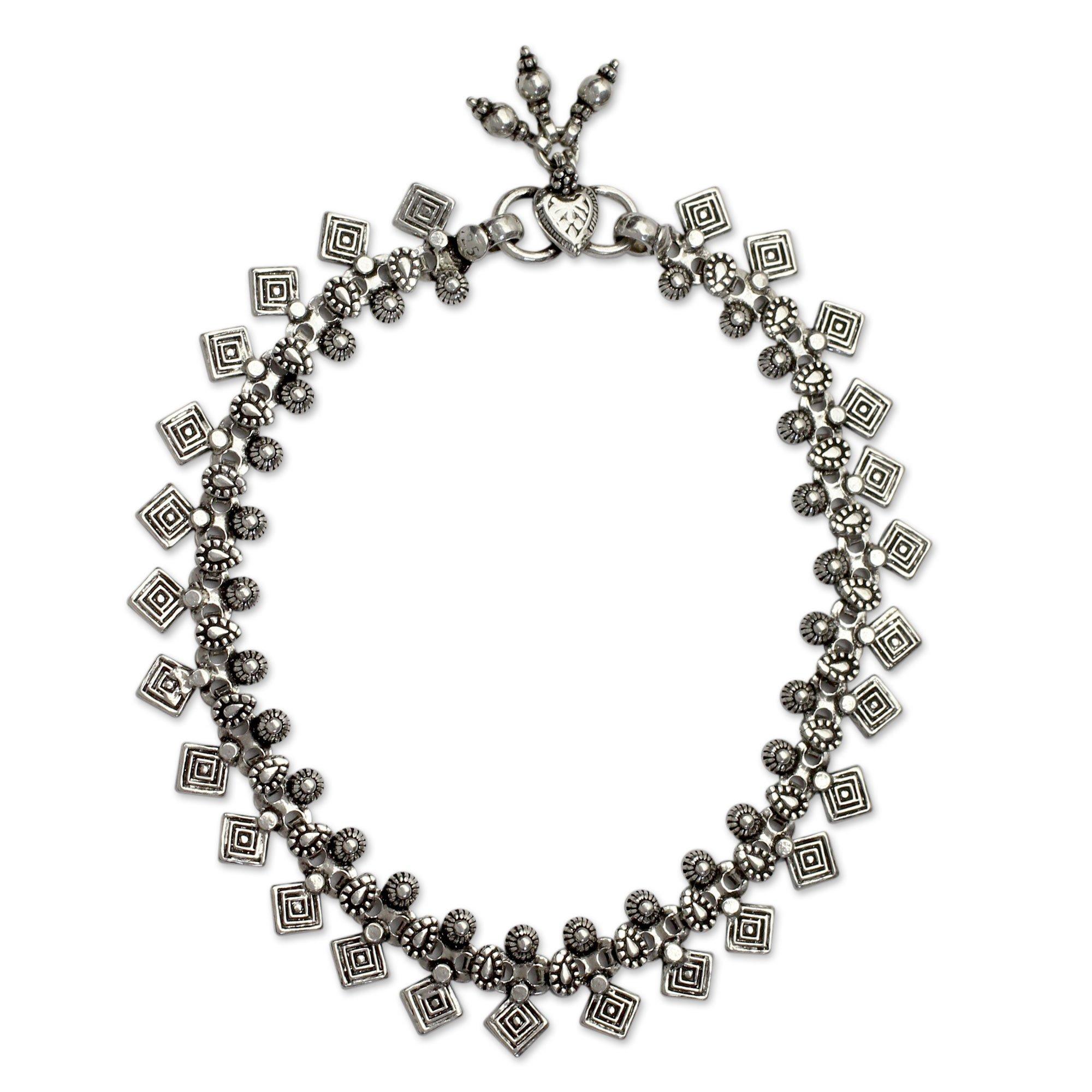 NOVICA .925 Sterling Silver Charm Anklet, 9.75'' 'Joyous Dance'