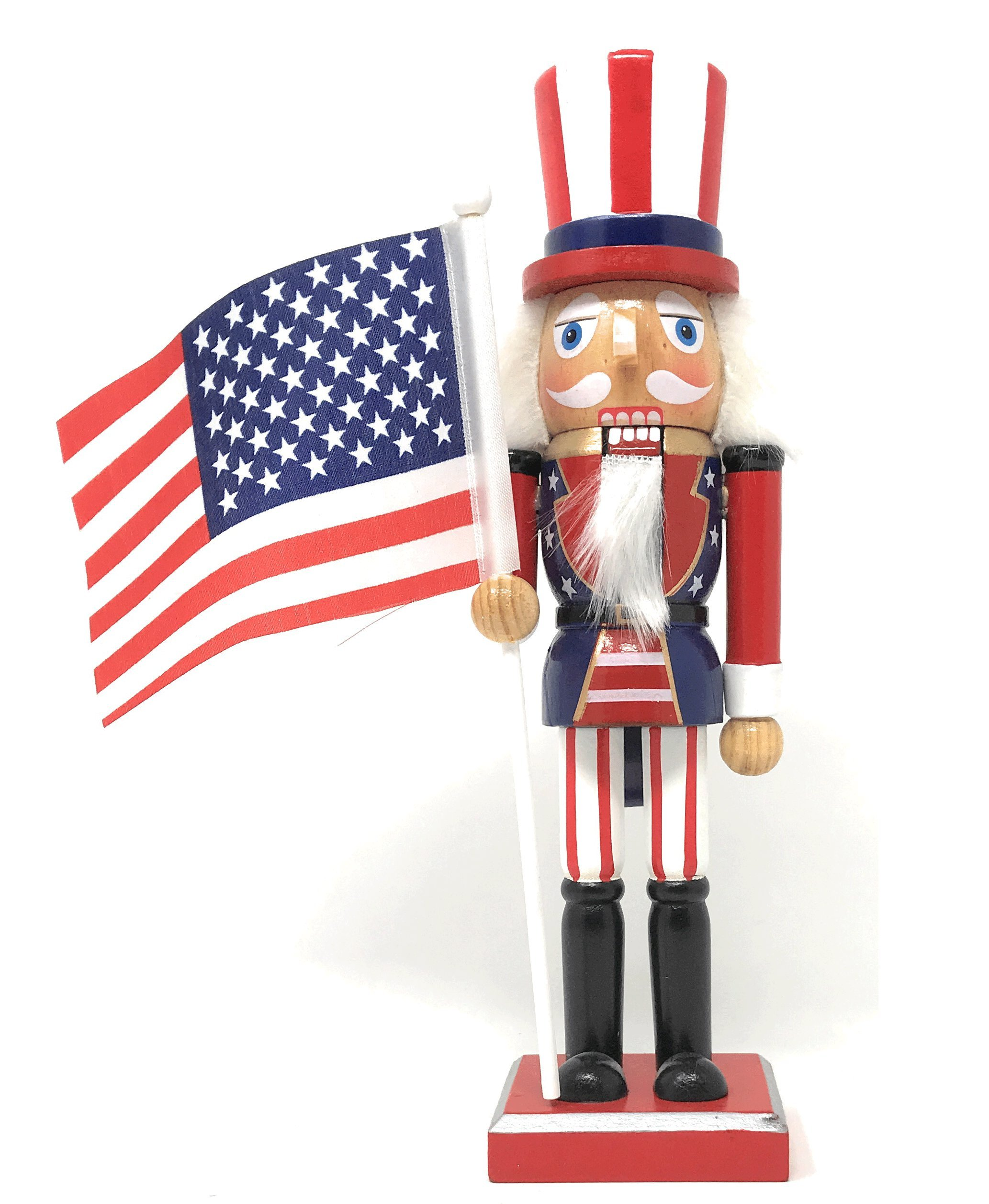 Nantucket Home Wooden Christmas Nutcracker Decor, 10-Inch (Uncle Sam Americana)