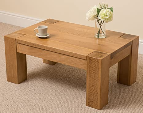 Admirable Oak Furniture King Chunky Small Oak Coffee Table Natural Oak Wood Occasional Table Rectangular 90 X 60 Cm Low Living Room Table Kuba Interior Design Ideas Philsoteloinfo