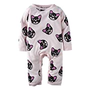 Baby Girls' 1 Piece Cat Head Print Long Sleeve Rompers Jumpsuit Pink K26-95(18-24 Months