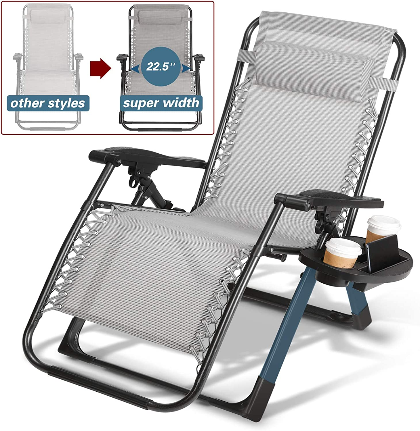 Artist Hand 350LBS Capacity Zero Gravity Heavy Duty Outdoor Folding Lounge Chairs wSnack Tray,Lawn Patio Reclining Chairs XL Size (Extra Wide Seats)