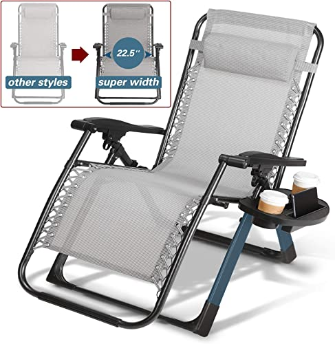 Artist Hand -350LBS Capacity Zero Gravity Heavy Duty Outdoor Folding Lounge Chairs w Snack Tray,Lawn Patio Reclining Chairs-XL Size Extra-Wide Seats