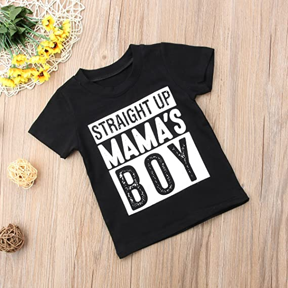 2917295f35ab Amazon.com  Toddler Kids Baby Boy Short Sleeve Mama s Boy T-Shirt ...