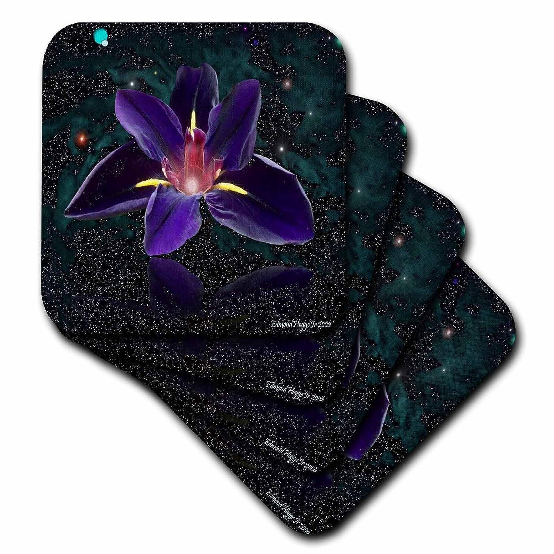 3dRose cst/_17346/_3 Iris Candle-Ceramic Tile Coasters Set of 4