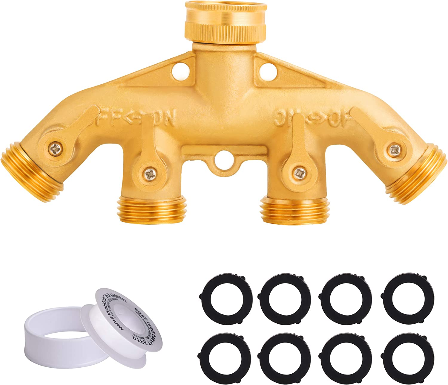 Tool Daily Garden Hose Splitter 4 Way, Spigot Adapter 4 Valves, Brass Hose Connector 3/4 Inch