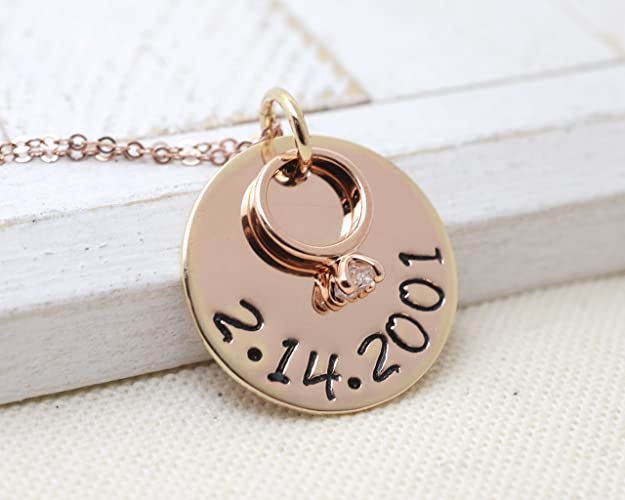 14k Rose Gold Valentine's Day Ring Necklace - Love it Personalized