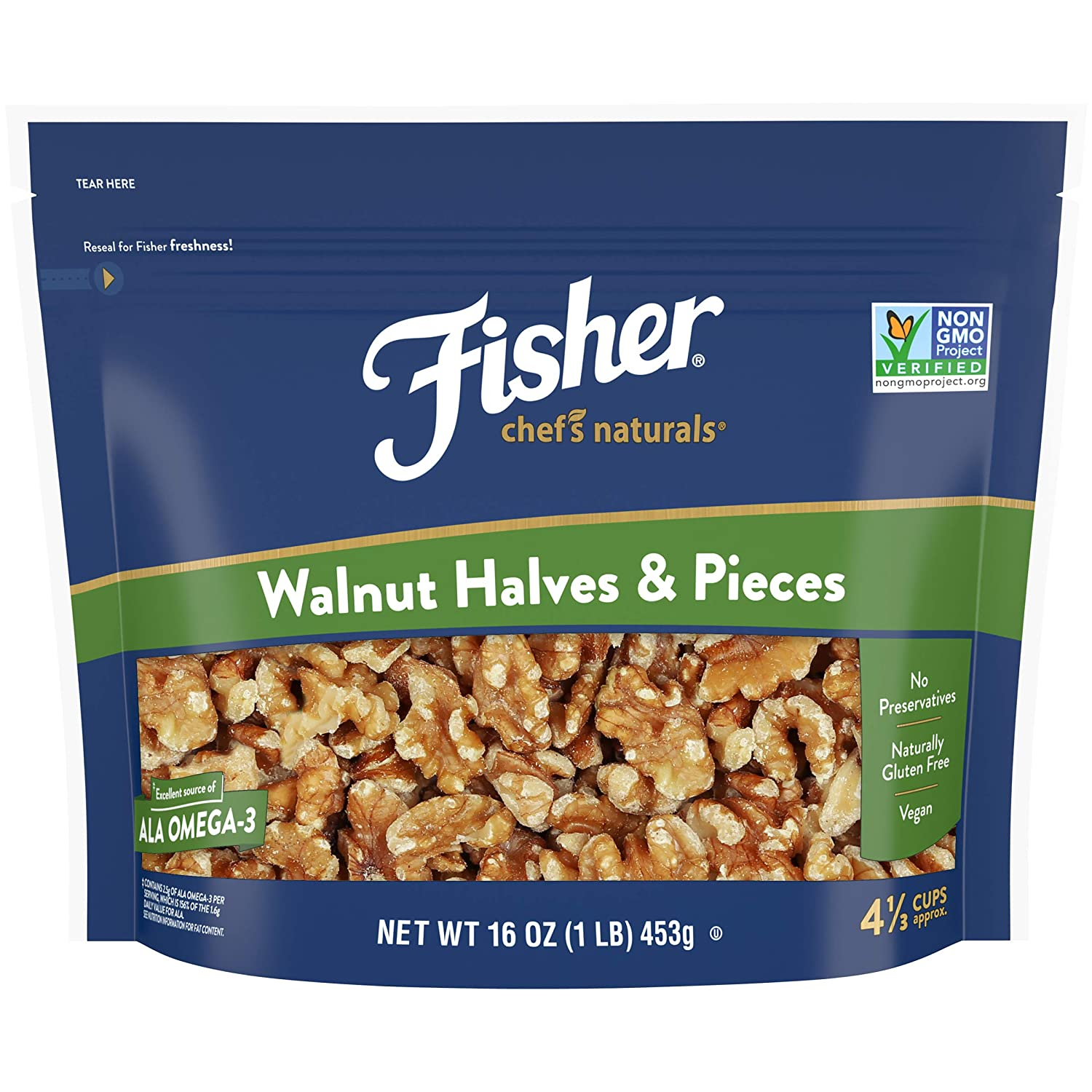 Fisher Chef's NaturalsWalnut Halves & Pieces, 16 oz, Naturally Gluten Free, No Preservatives, Non-GMO