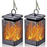 Solar Lantern Lights Dancing Flame Waterproof Outdoor Hanging Lantern Solar Powered Umbrella LED Night Lights Dusk to…