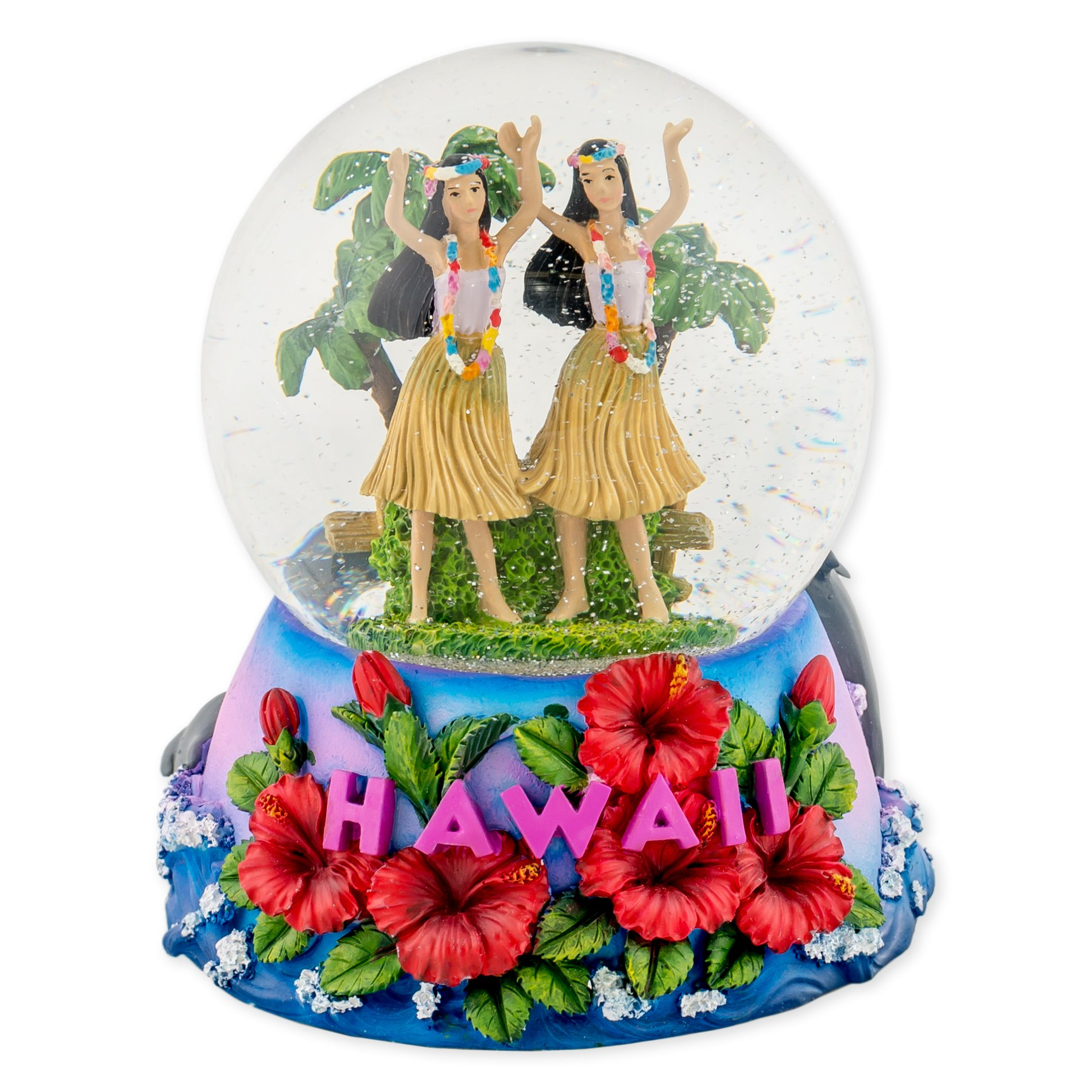 Hawaii Hula Girls 100mm Resin Glitter Water Globe Plays Tune Aloha