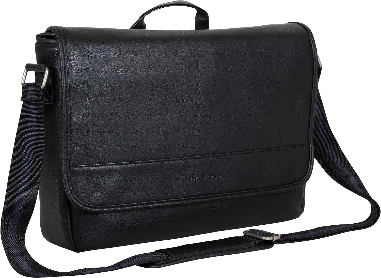 "Ben Sherman Faux Leather Flapover 15"" Laptop & Tablet Casual Messenger Bag, Black, Laptop"
