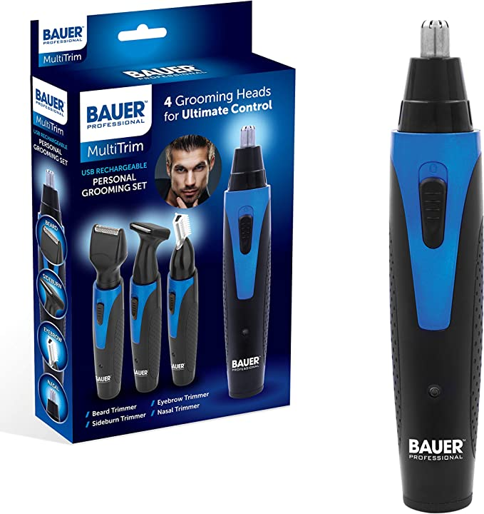 Bauer 39179 USB Rechargeable Personal Grooming Set | 4 Interchangeable Heads for Beard, Nose, Hair & Body | Ergonomic Handle | Travel Groomer,Benross Marketing,39179
