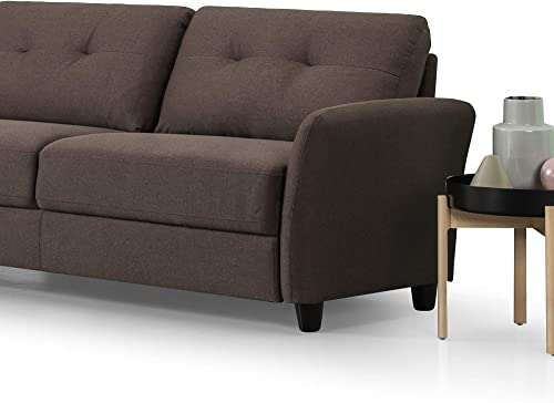 Zinus Ricardo Contemporary Upholstered 78.4 Inch Sofa Living Room Couch, Chestnut Brown