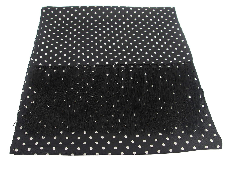 Black With White Polka Dot Silk Scarf