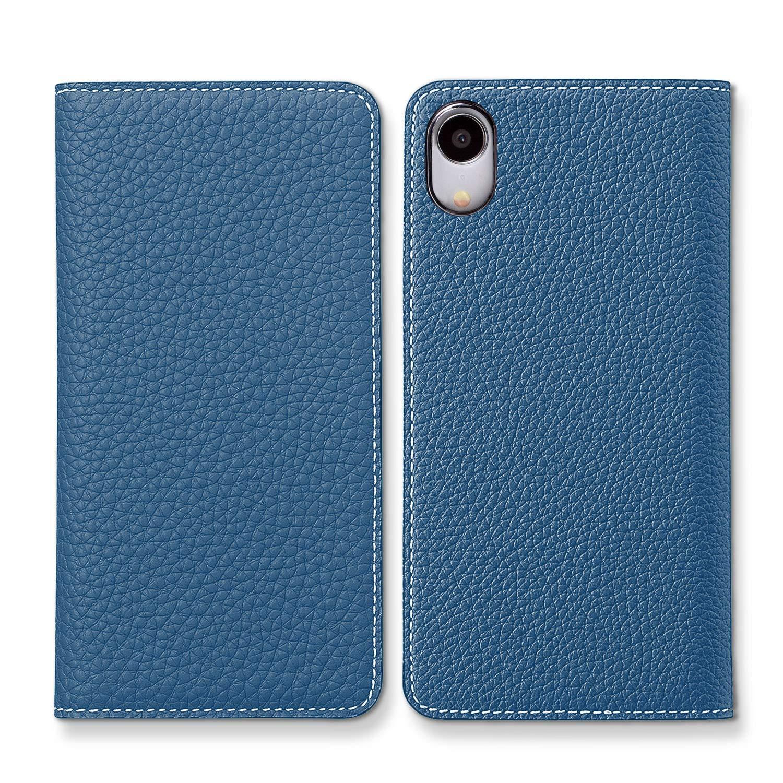 BONAVENTURA Funda para Cartera Agenda de iPhone de Cuero [iPhone XR, Azul y Topo]