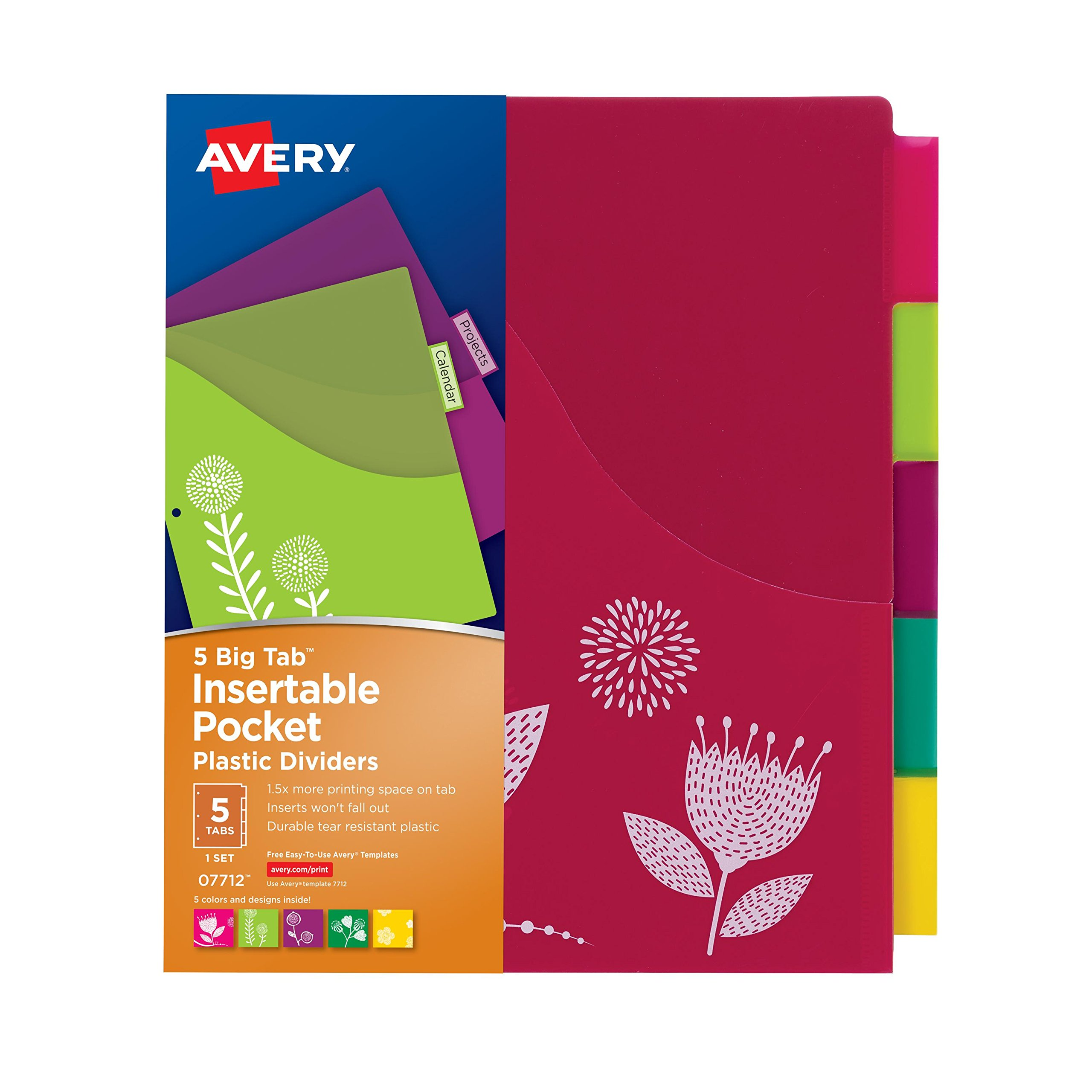 Avery Big Tab Insertable Plastic Dividers w/Pockets, 5 Tabs, 1 Set, Assorted Fashion Designs (07712)