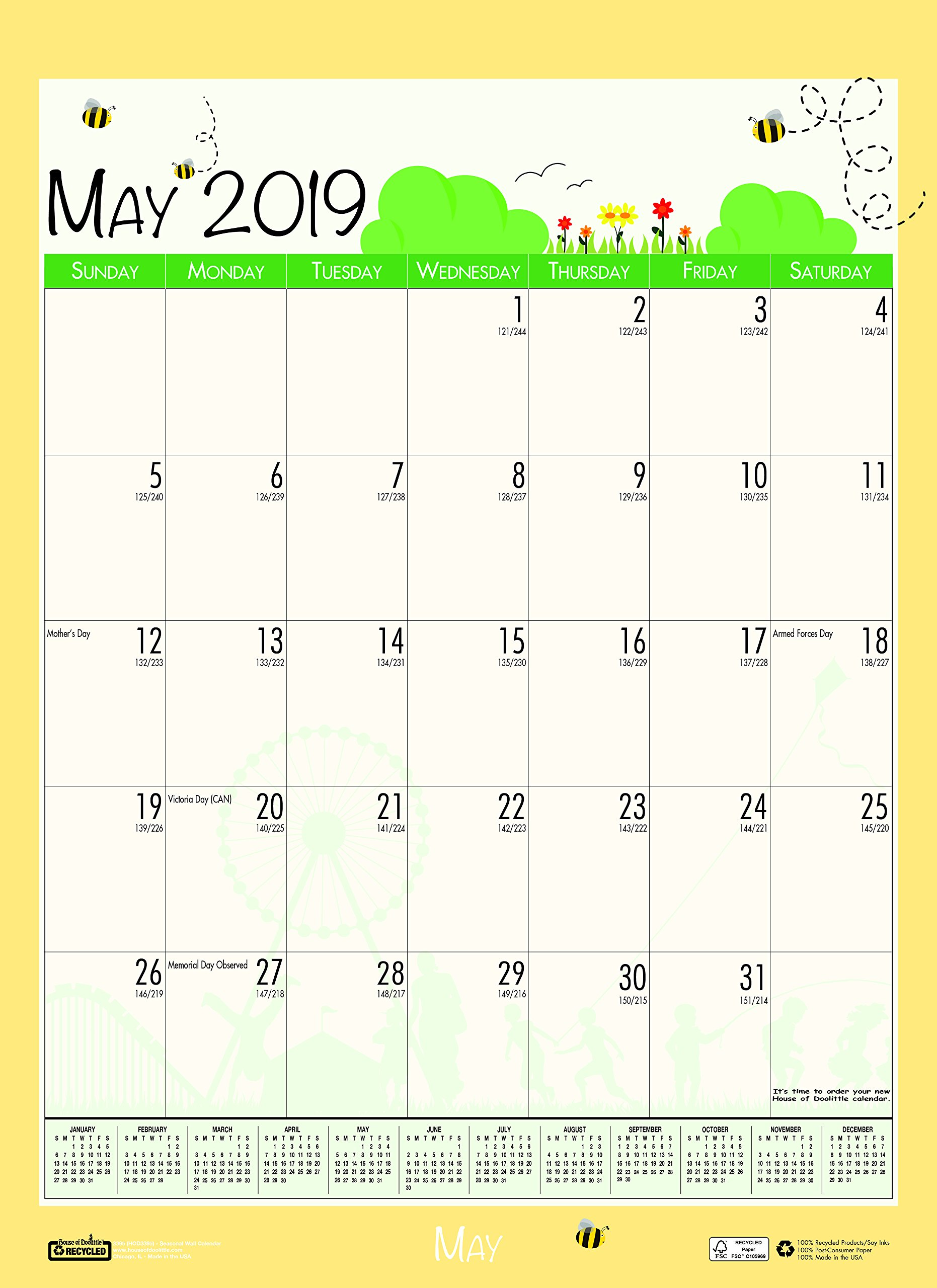 House of Doolittle 2018-2019 Monthly Seasonal Wall Calendar, Academic, 12 x 16.5 Inches, July - June, Case of 24 (HOD3395PK-19) by House of Doolittle (Image #8)