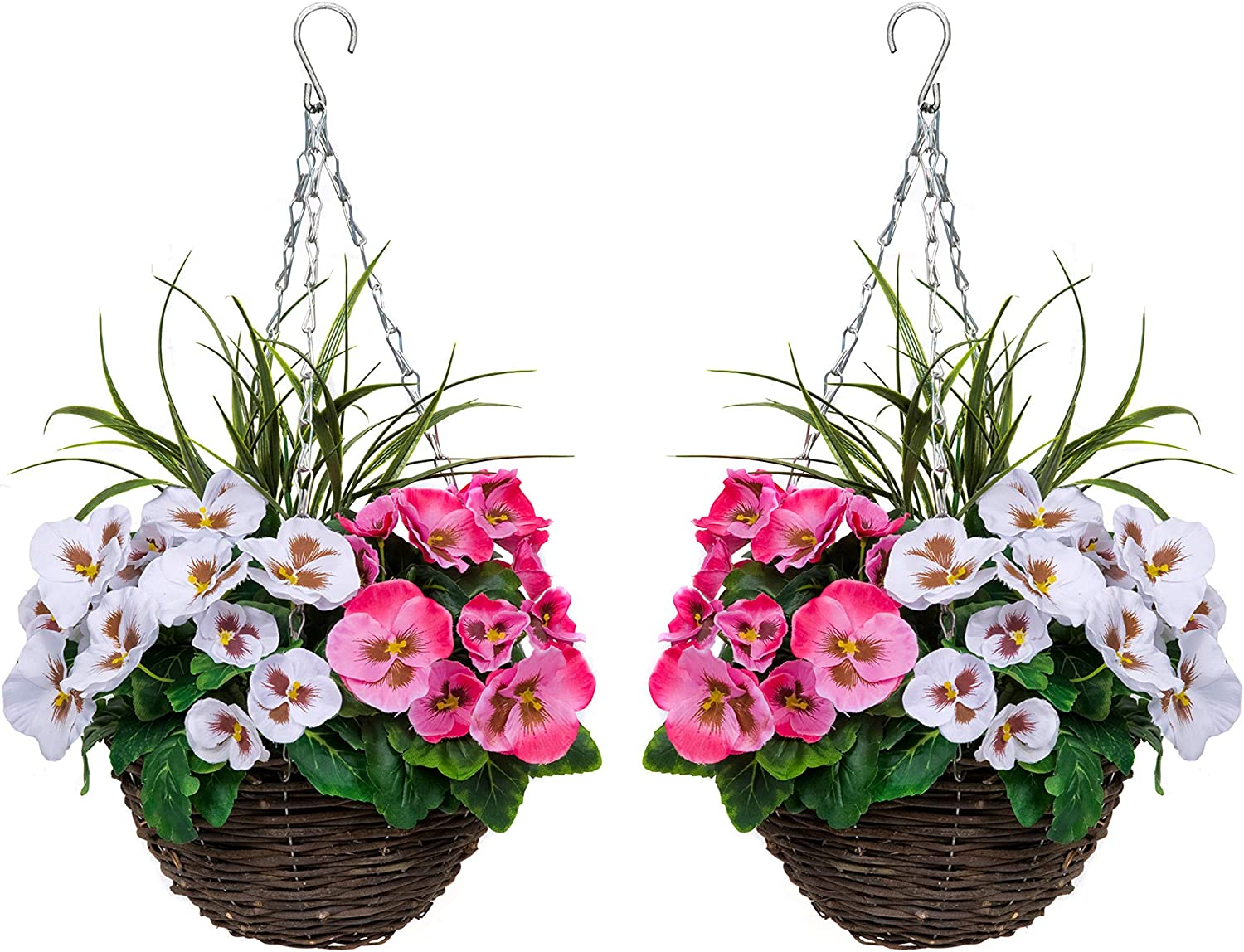 GreenBrokers 2 Spring new work one after Sales results No. 1 another x Artificial Pink White Pansies and Decorativ