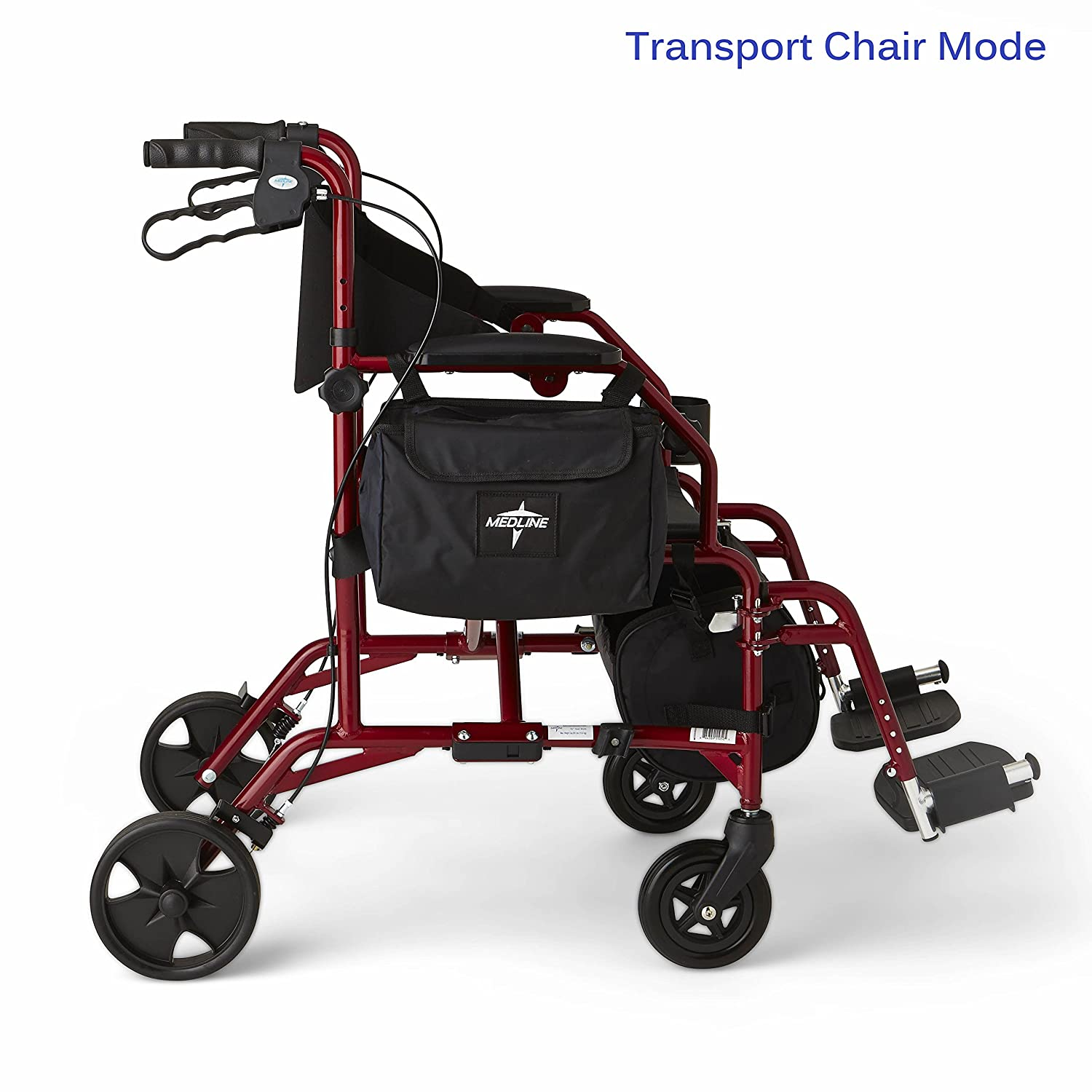 Transport chair amazon - Amazon Com Medline Red Combination Rollator And Transport Chair Desk Length Arms Swing Away Footrests Red Frame Health Personal Care
