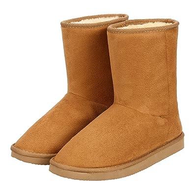 Winter Boots Women's Faux Fur Suede Mid Calf Warm Snow Fashion Plush 5 ED