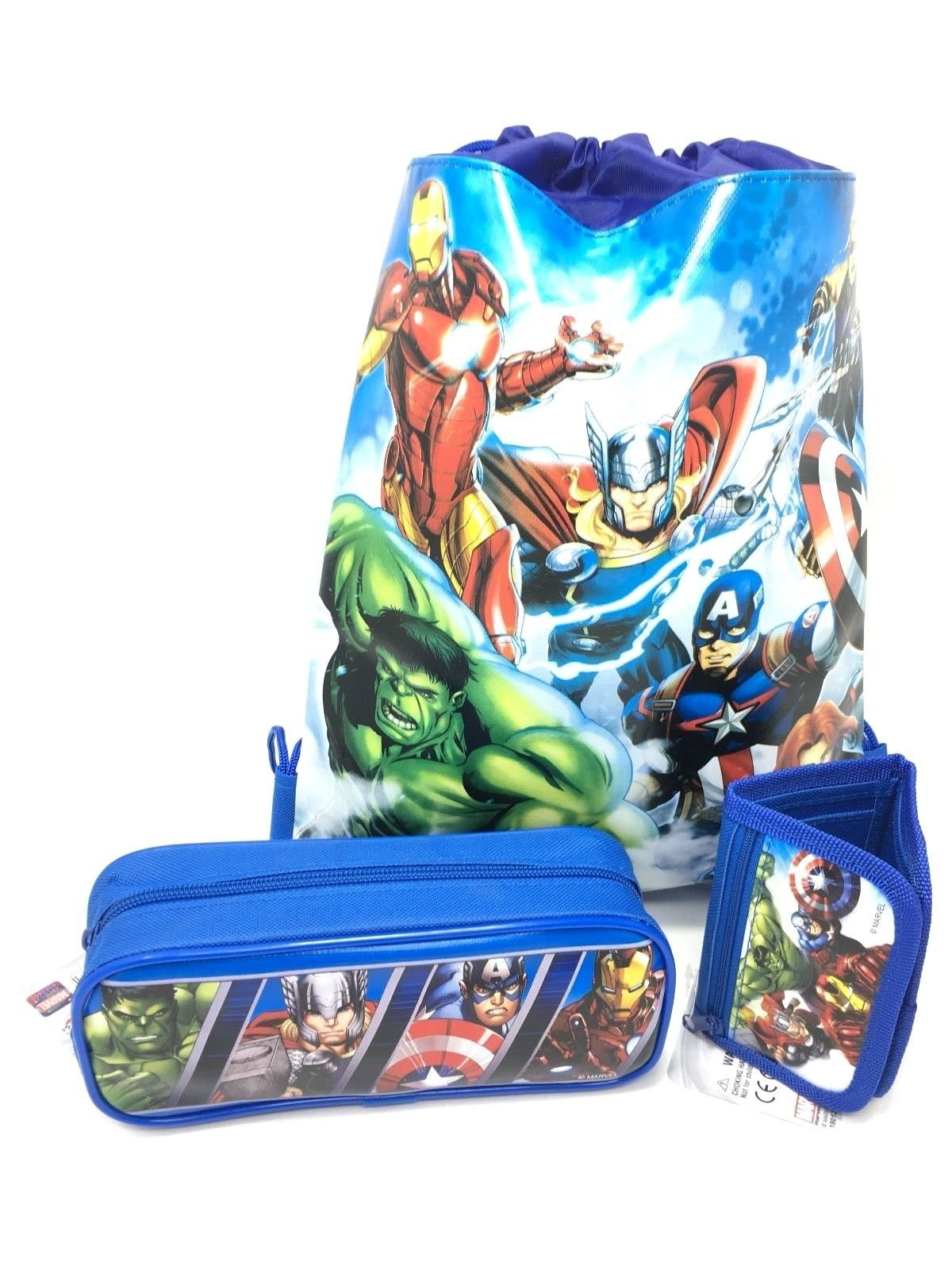 Marvel Avengers Character Authentic Licensed Wallet, Pencil Case, Sling Backpack Bag-3 Items-Blue