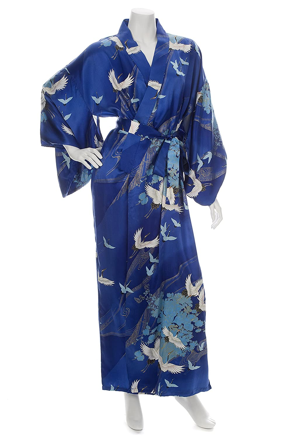 c571ced1af Silk Crane Print Long Blue Japanese Kimono at Amazon Women s Clothing store