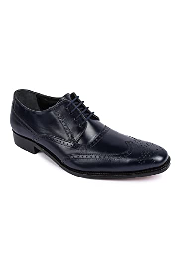 Liberty Mens Handcrafted Leather Wingtip Oxford Lace Up Dress Shoe