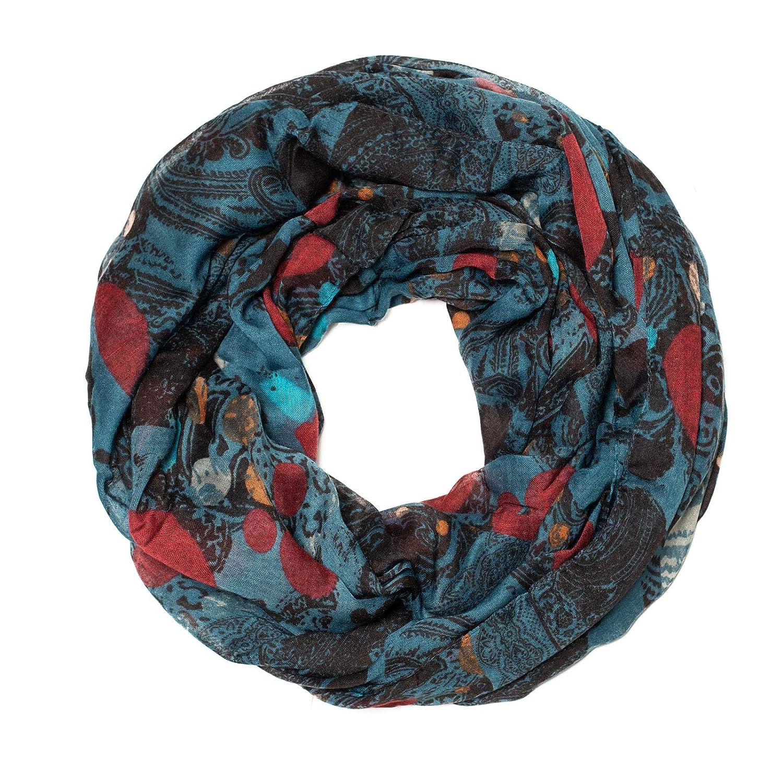 Schal Loopschal Rundschal Halstuch Tuch Damen Blumen Paisley Muster mehrfarbig