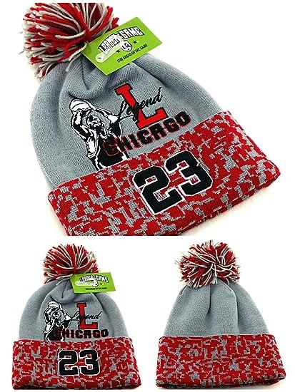 868a7fd77998 Amazon.com  Chicago New Leader Legend 23 Jordan Bulls Colors Gray Red Toque  Pom Beanie Era Hat Cap  Sports   Outdoors