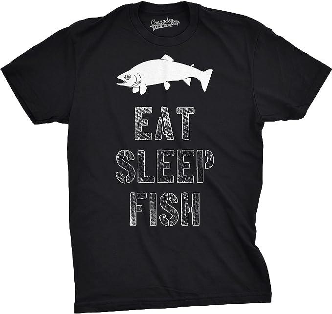 53bf87f6 Mens Eat Sleep Fish T Shirt - Funny Vintage Fishing Outdoors Tee (Black) -