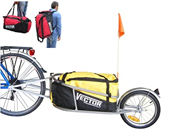 PolironeShop VECTOR remolque Eje para bicicleta bici monoruota Bolso Mochila con bolsa de transporte material gasto cicloturismo mercancía rojo: Amazon.es: ...