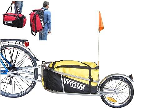 PolironeShop VECTOR Rimorchio carrello per bici bicicletta monoruota con  borsone borsa zaino trasporto materiale merce spesa 7edab9ce915