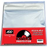 """Premium Record Sleeves For Your 12"""" Record Covers. (100) Crystal Clear No Haze Outer Record Sleeves With Resealable Flap For"""
