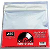 """Premium Record Sleeves for Your 12"""" Record Covers. (100) Crystal Clear NO Haze Outer Record Sleeves with Resealable Flap…"""