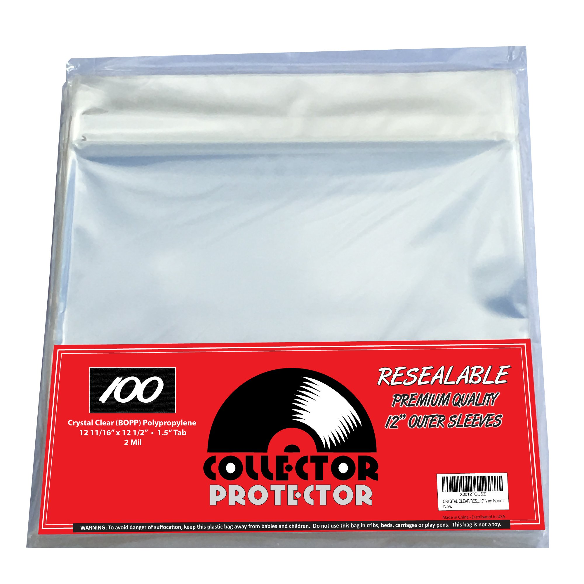 Premium Record Sleeves For Your 12'' Record Covers. (100) Crystal Clear No Haze Outer Record Sleeves With Resealable Flap For Complete Protection Of Your Album Covers