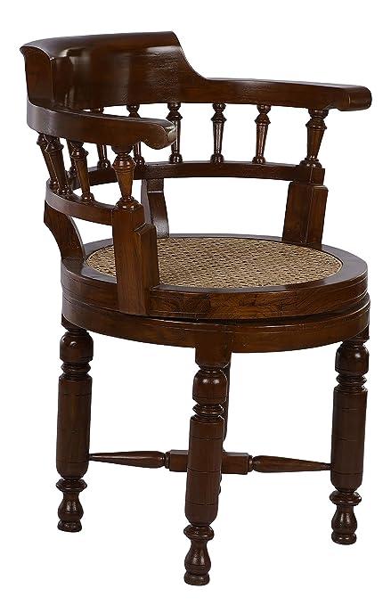 Fantastic The Antique Loft William Swivel Rotating Teak Wood Study Short Links Chair Design For Home Short Linksinfo