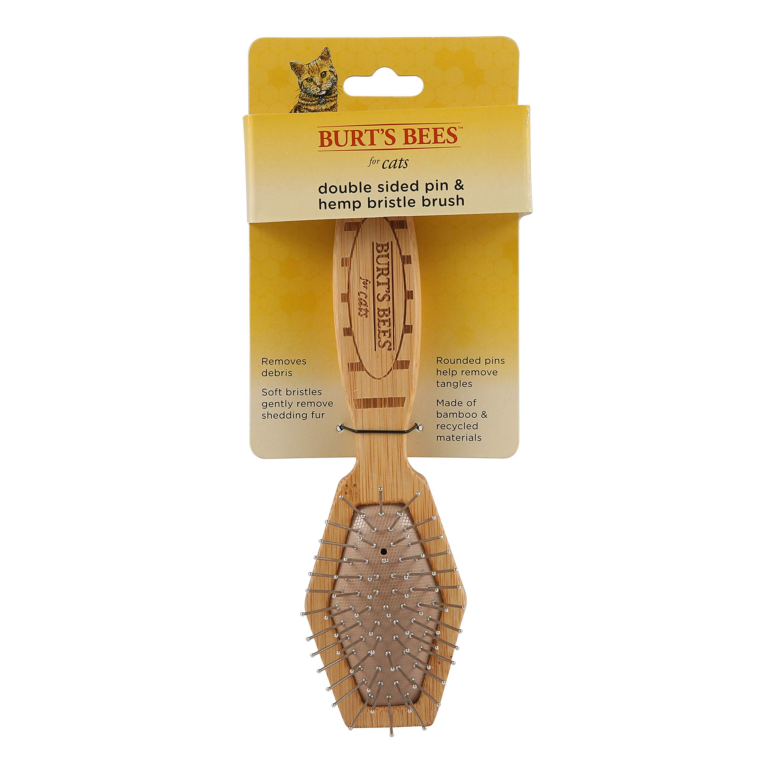 Burt's Bees for Cats 2-in-1 Double Sided Pin & Bristle Brush for Cats | One Side of Cat Brush Removes Loose Fur and Prevents Matting | Cat Brush is Ideal for Daily Grooming