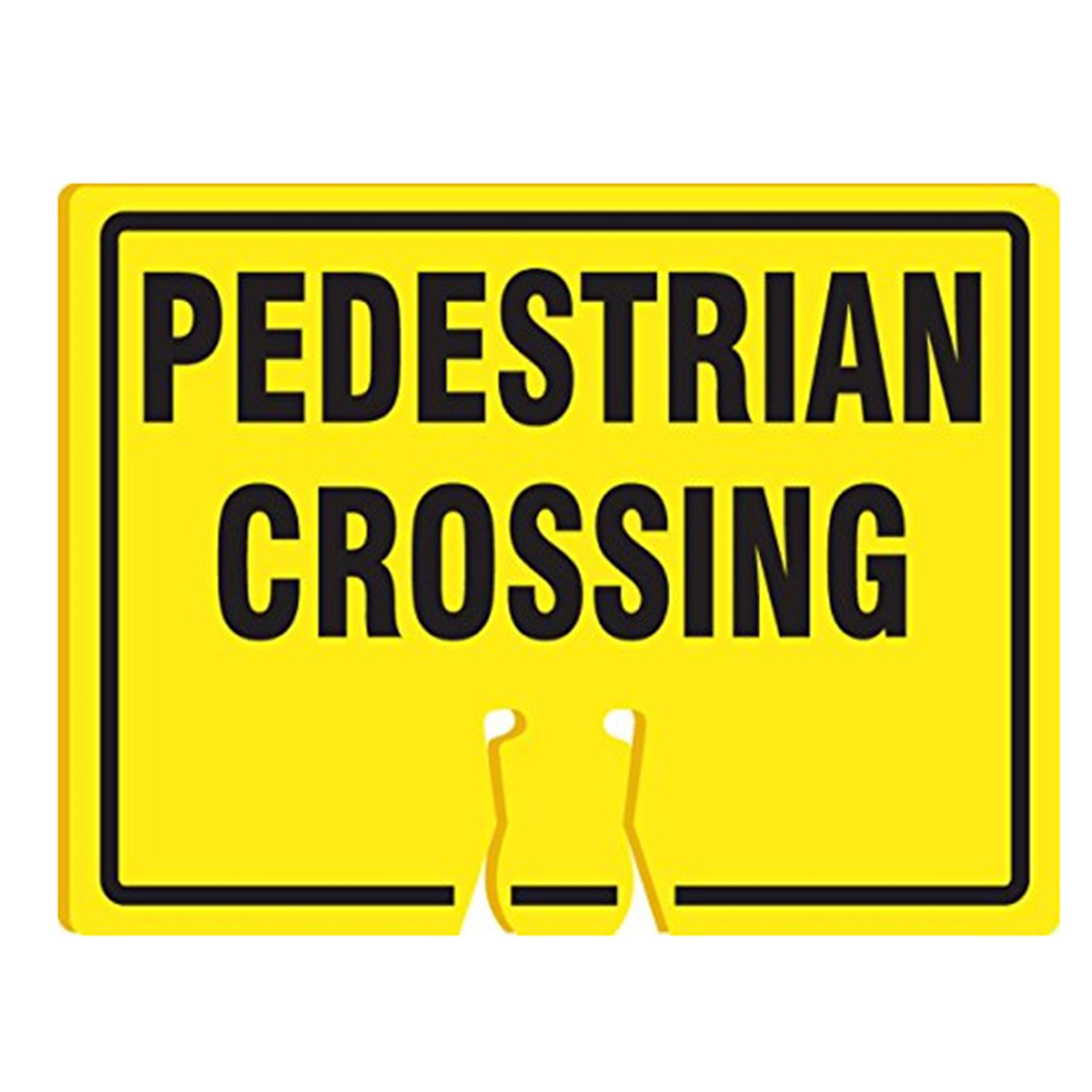 RK Traffic Cone Sign 39 Legend ''Pedestrian Crossing'', 18'' Width x 14'' Height, Black on Yellow