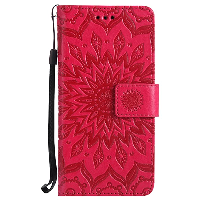Coque pour Nokia Lumia 635,Housse en cuir pour Nokia Lumia 635,Ecoway Tournesols de motifs en relief étui en cuir PU Cuir Flip Magnétique Portefeuille Etui Housse de Protection Coque Étui Case Cover avec