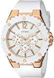 GUESS Women's U0452L1 Sporty Oversized Multi-Function Watch with Comfortable White Silicone Strap & Rose Gold-Tone Accents