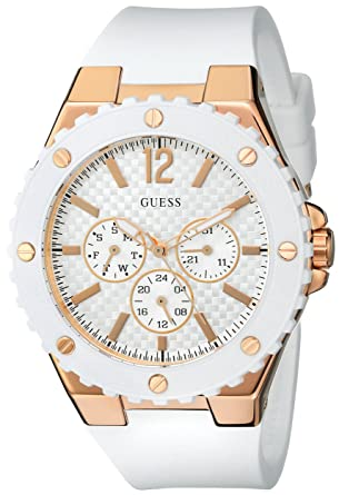 0b5d76954331 Amazon.com  GUESS Women s U0452L1 Sporty Oversized Multi-Function Watch  with Comfortable White Silicone Strap   Rose Gold-Tone Accents  Watches
