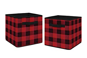 Sweet Jojo Designs Woodland Buffalo Plaid Foldable Fabric Storage Cube Bins Boxes Organizer Toys Kids Baby Childrens - Set of 2 - Red and Black Rustic Country Lumberjack